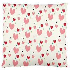 Love Heart Pink Polka Valentine Red Black Green White Large Flano Cushion Case (two Sides) by Mariart