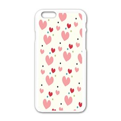 Love Heart Pink Polka Valentine Red Black Green White Apple Iphone 6/6s White Enamel Case by Mariart