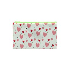 Love Heart Pink Polka Valentine Red Black Green White Cosmetic Bag (xs) by Mariart