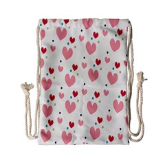 Love Heart Pink Polka Valentine Red Black Green White Drawstring Bag (small) by Mariart
