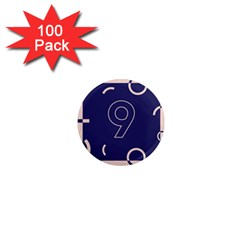 Number 9 Blue Pink Circle Polka 1  Mini Magnets (100 Pack)  by Mariart