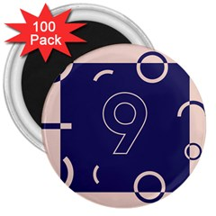Number 9 Blue Pink Circle Polka 3  Magnets (100 Pack) by Mariart