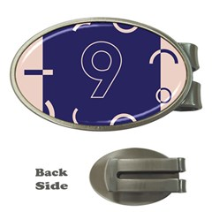 Number 9 Blue Pink Circle Polka Money Clips (oval)  by Mariart