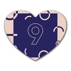 Number 9 Blue Pink Circle Polka Heart Mousepads by Mariart