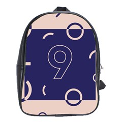 Number 9 Blue Pink Circle Polka School Bags(large)  by Mariart