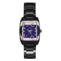 Number 9 Blue Pink Circle Polka Stainless Steel Barrel Watch by Mariart