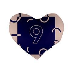 Number 9 Blue Pink Circle Polka Standard 16  Premium Flano Heart Shape Cushions by Mariart