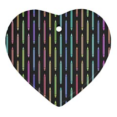 Pencil Stationery Rainbow Vertical Color Ornament (heart) by Mariart