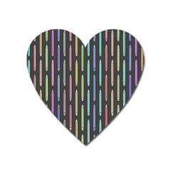 Pencil Stationery Rainbow Vertical Color Heart Magnet by Mariart