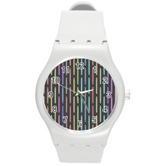 Pencil Stationery Rainbow Vertical Color Round Plastic Sport Watch (M) by Mariart