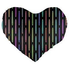 Pencil Stationery Rainbow Vertical Color Large 19  Premium Flano Heart Shape Cushions by Mariart
