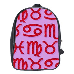 Illustrated Zodiac Red Purple Star School Bags (xl)  by Mariart