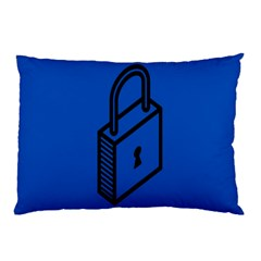 Padlock Love Blue Key Pillow Case (two Sides) by Mariart
