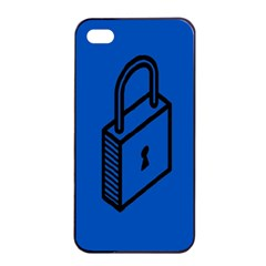 Padlock Love Blue Key Apple Iphone 4/4s Seamless Case (black) by Mariart
