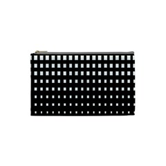 Plaid White Black Cosmetic Bag (small)  by Mariart
