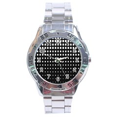 Plaid White Black Stainless Steel Analogue Watch by Mariart