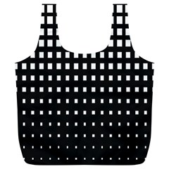 Plaid White Black Full Print Recycle Bags (l)  by Mariart