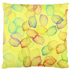 Watercolors On A Yellow Background          Large Flano Cushion Case (two Sides) by LalyLauraFLM