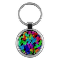 Colorful Strokes On A Black Background               Key Chain (round) by LalyLauraFLM