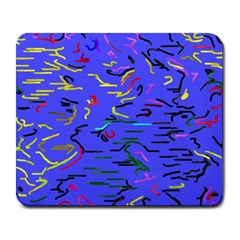 Paint strokes on a blue background              Large Mousepad by LalyLauraFLM