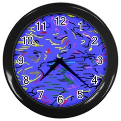 Paint Strokes On A Blue Background              Wall Clock (black) by LalyLauraFLM