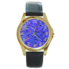 Paint Strokes On A Blue Background              Round Gold Metal Watch by LalyLauraFLM