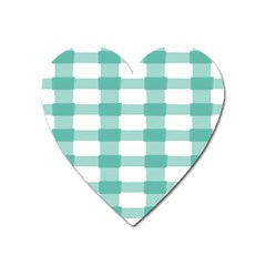 Plaid Blue Green White Line Heart Magnet by Mariart
