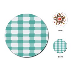Plaid Blue Green White Line Playing Cards (round)  by Mariart