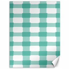 Plaid Blue Green White Line Canvas 36  X 48   by Mariart