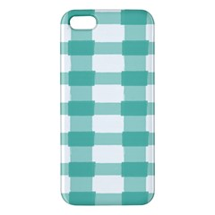 Plaid Blue Green White Line Apple Iphone 5 Premium Hardshell Case by Mariart