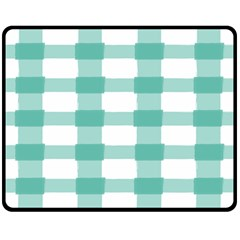 Plaid Blue Green White Line Double Sided Fleece Blanket (medium)  by Mariart