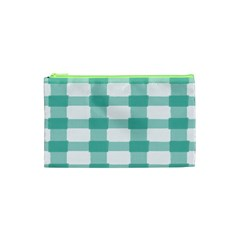 Plaid Blue Green White Line Cosmetic Bag (xs) by Mariart