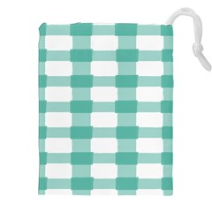 Plaid Blue Green White Line Drawstring Pouches (xxl) by Mariart