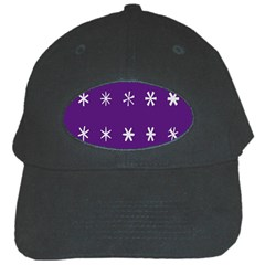 Purple Flower Floral Star White Black Cap by Mariart