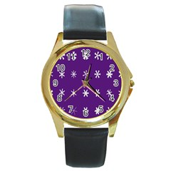 Purple Flower Floral Star White Round Gold Metal Watch by Mariart