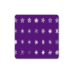 Purple Flower Floral Star White Square Magnet by Mariart