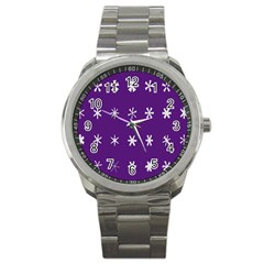Purple Flower Floral Star White Sport Metal Watch by Mariart