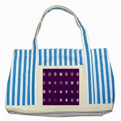 Purple Flower Floral Star White Striped Blue Tote Bag by Mariart