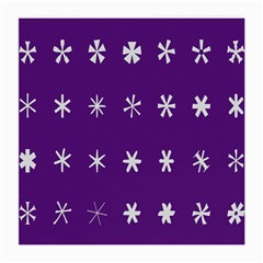 Purple Flower Floral Star White Medium Glasses Cloth (2 Side) by Mariart