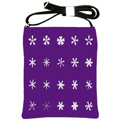 Purple Flower Floral Star White Shoulder Sling Bags by Mariart