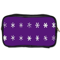 Purple Flower Floral Star White Toiletries Bags 2 Side by Mariart