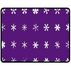 Purple Flower Floral Star White Fleece Blanket (medium)  by Mariart