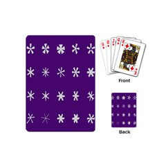 Purple Flower Floral Star White Playing Cards (mini)  by Mariart