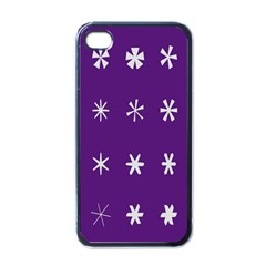 Purple Flower Floral Star White Apple Iphone 4 Case (black) by Mariart