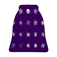 Purple Flower Floral Star White Ornament (bell) by Mariart