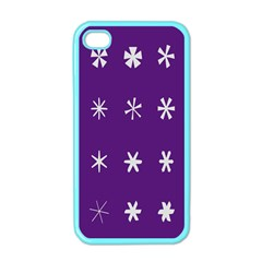 Purple Flower Floral Star White Apple Iphone 4 Case (color) by Mariart
