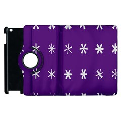 Purple Flower Floral Star White Apple Ipad 3/4 Flip 360 Case by Mariart