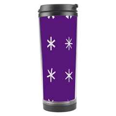 Purple Flower Floral Star White Travel Tumbler by Mariart