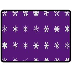 Purple Flower Floral Star White Double Sided Fleece Blanket (large)  by Mariart