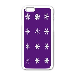 Purple Flower Floral Star White Apple Iphone 6/6s White Enamel Case by Mariart